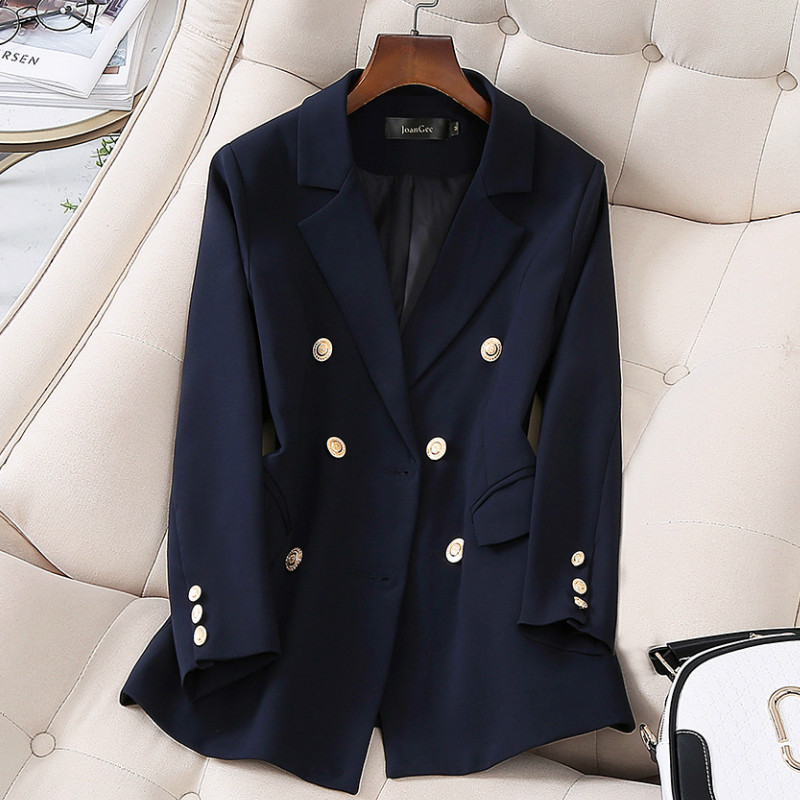 2020 New Spring And Autumn Ladies Office Suit Elegant High Quality Double Breasted Blazer Jacket Feminine Small Suit Blue
