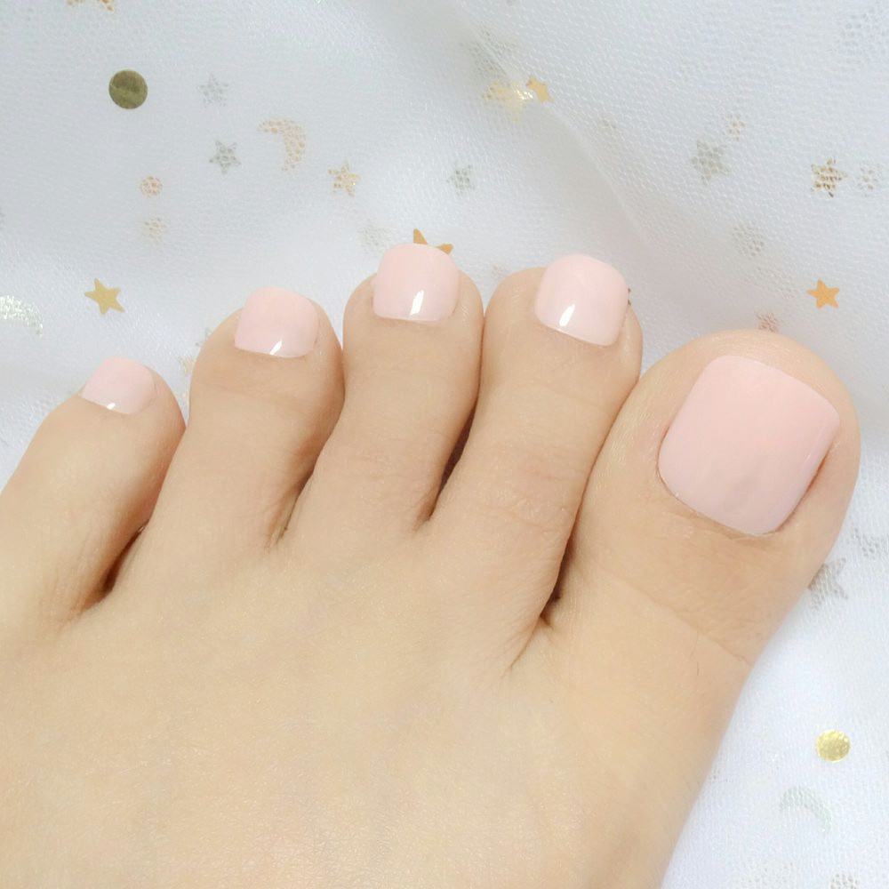 24pcs Candy Artificial Fake Toe Nails Light Orange False Toenails Tip Artificial Foot Nail Art DIY Salon Nails 506