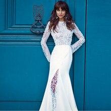 Verngo Mermaid Boho Wedding Dress Long Sleeves Wedding Gowns Elegant Lace Open Back Bride Dress Slit Robe De Mariee 2020 floral open back slit maxi cami dress