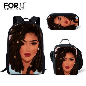 FORUDESIGNS Girls School Bags African Black Girls Hairstyle School Backpack Set Scool Bag For Girl Kids Girl Backpack Junior Bag 36
