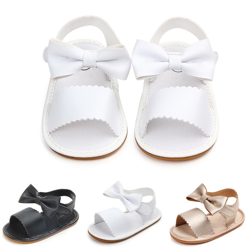 Toddler Girl Crib Shoes PU Newborn Bow Soft Sole Anti-slip Baby Sneakers Sandals Toddler Shoes Baby Shoes