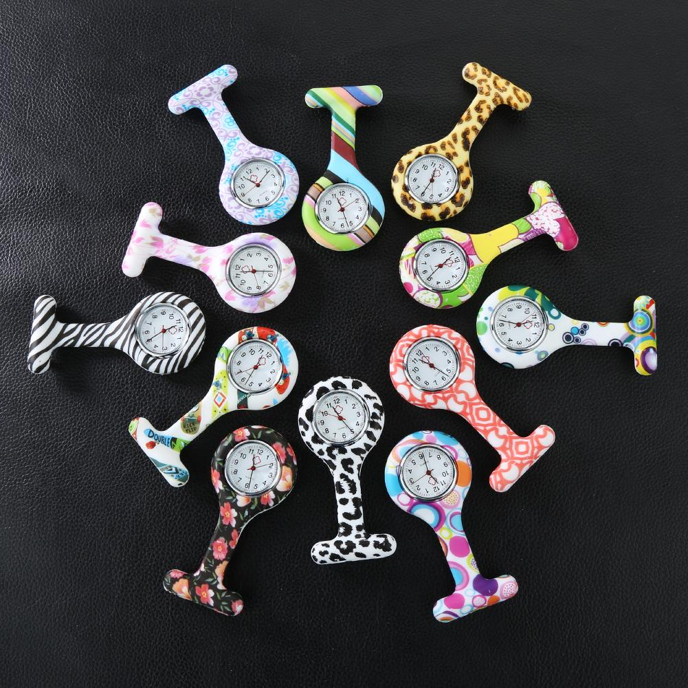 Portable printNumerals Round Dial Silicone Nurse Watch Brooch Tunic Numerals Pocket Watch Electric Watch New Fashion Watches