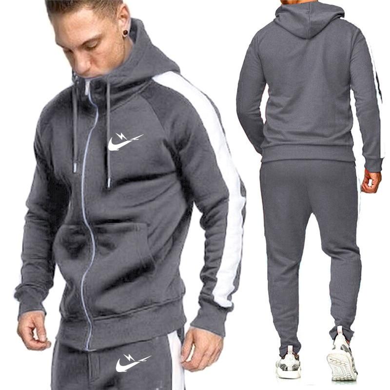 New Men's Sets Brand Sportswear Tracksuits Sets Men's Zipper Sporting Hoodies+Pants Sets casual Outwear sports Suits men Hoodie