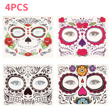 4pcs/set Day of The Dead Makeup Mask Face Sticker Halloween Cool Girl Beauty Waterproof Tattoo Set for Cosplay Party