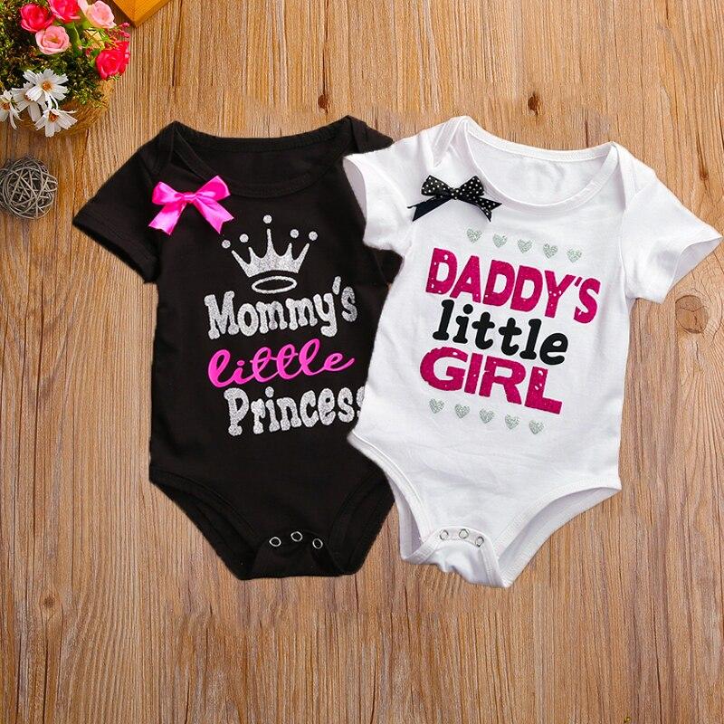 Daddy's Little Girl Mommy's Little Princess Print Short Sleeve Baby Girl Bodysuit