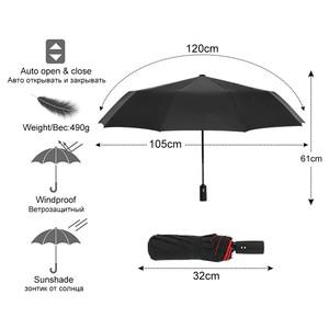 Двухслойный автоматический зонт от дождя для женщин, 3 сложения, крепкий ветрозащитный женский мужской 10 к большой зонт, мужские бизнес Зонт...