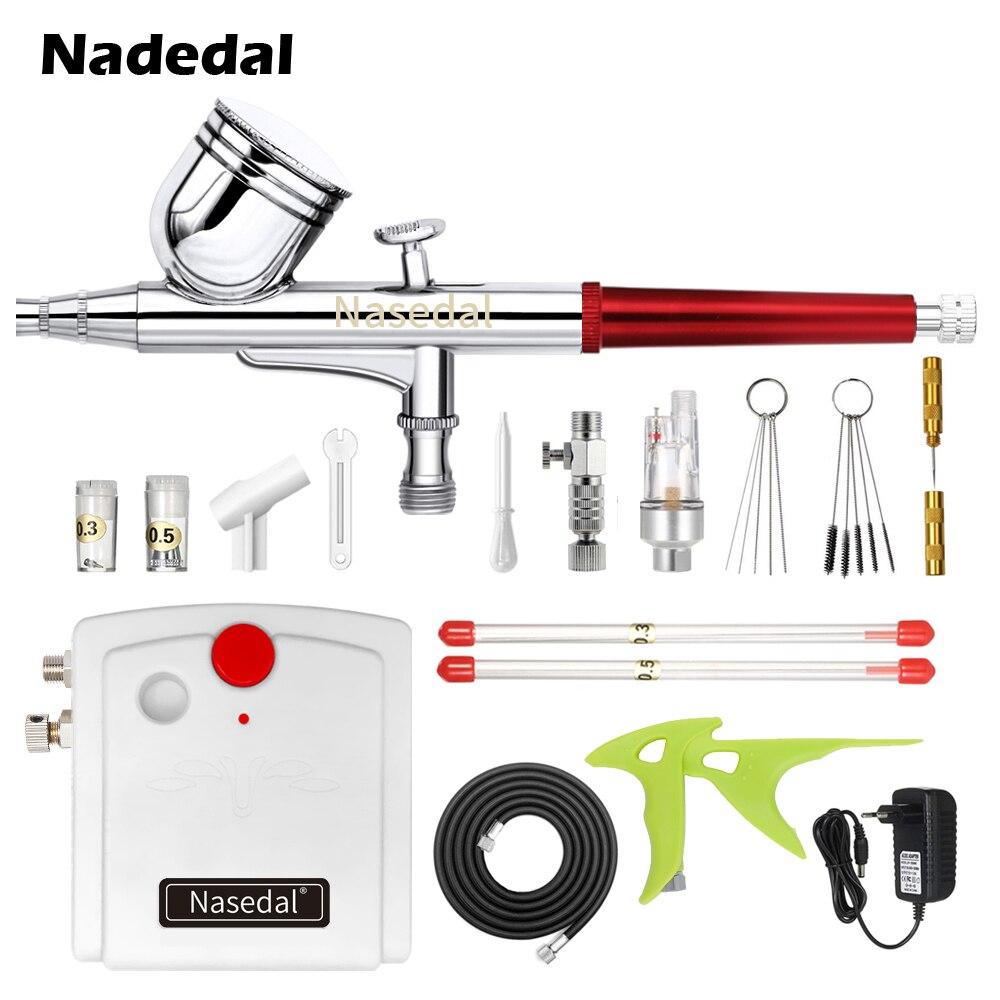 Nasedal Dual-Action 7cc 0.3mm Airbrush Spray Gun Airbrush Compressor Kit Airbrush Nail Art Makeup Tattoo Model Cake Car Painting