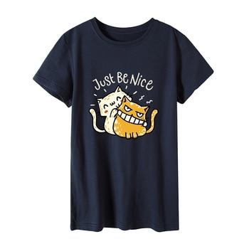 Women T-shirt Plus Size 100% Cotton Vogue Tshirt Just Be Nice Cat Print Vogue T shirt Women O-Neck Short Sleeve harajuku Top
