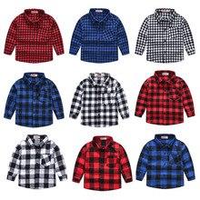 Girls Shirts Button Long-Sleeve Plaid Baby-Boys Kids Tops Turn-Down-Collar Spring New