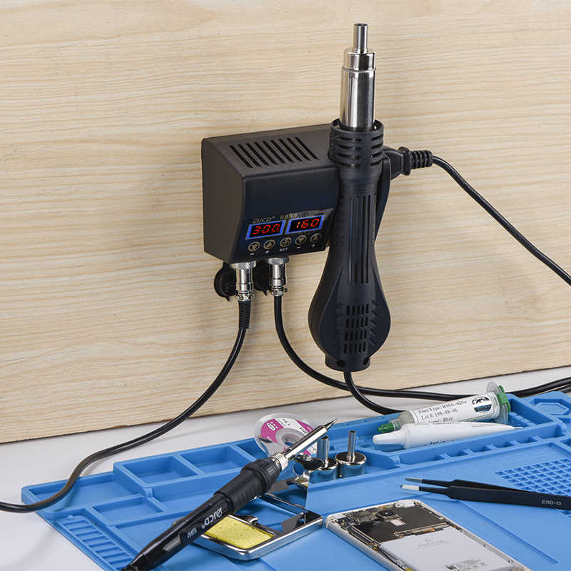 JCD 8898 2 in 1 750W Soldering Station Hot Air Heater LCD Digital Display Soldei