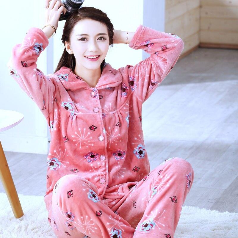 Sleepwear Women Set Winter Flannel Warm Solid Pijamas Women Thick Coral Fleece Pyjamas Woman Plus Size Long Pajamas For Female 6
