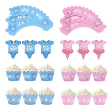 Topper-Set Cupcake-Wrapper It's Reveal Girl Cake Party-Supplies Shower-Gender Birthday-Party