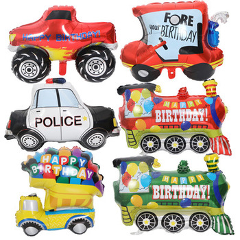 Birthday party decoration baby shower cartoon car fire truck train ambulance foil balloon image