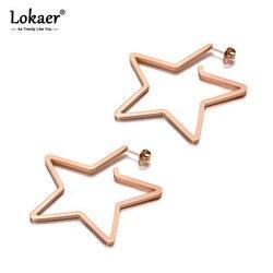 Lokaer Original Design Titanium Stainless Steel Love Star Earrings Bohemia Office Stud Earrings Jewelry For Women Girls E19329