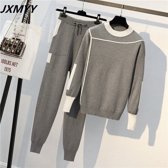 2020 Autumn Runway 2 Pieces Set Knitted Long Sleeve Pullovers Sweater Casual Patchwork Knit Jumper Tops and Pants Suits