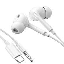 Azimiyo s1 fones de ouvido graves pesados com fio tipo c 3.5mm no ouvido com microfone para o telefone computador fone estéreo para xiaomi 10