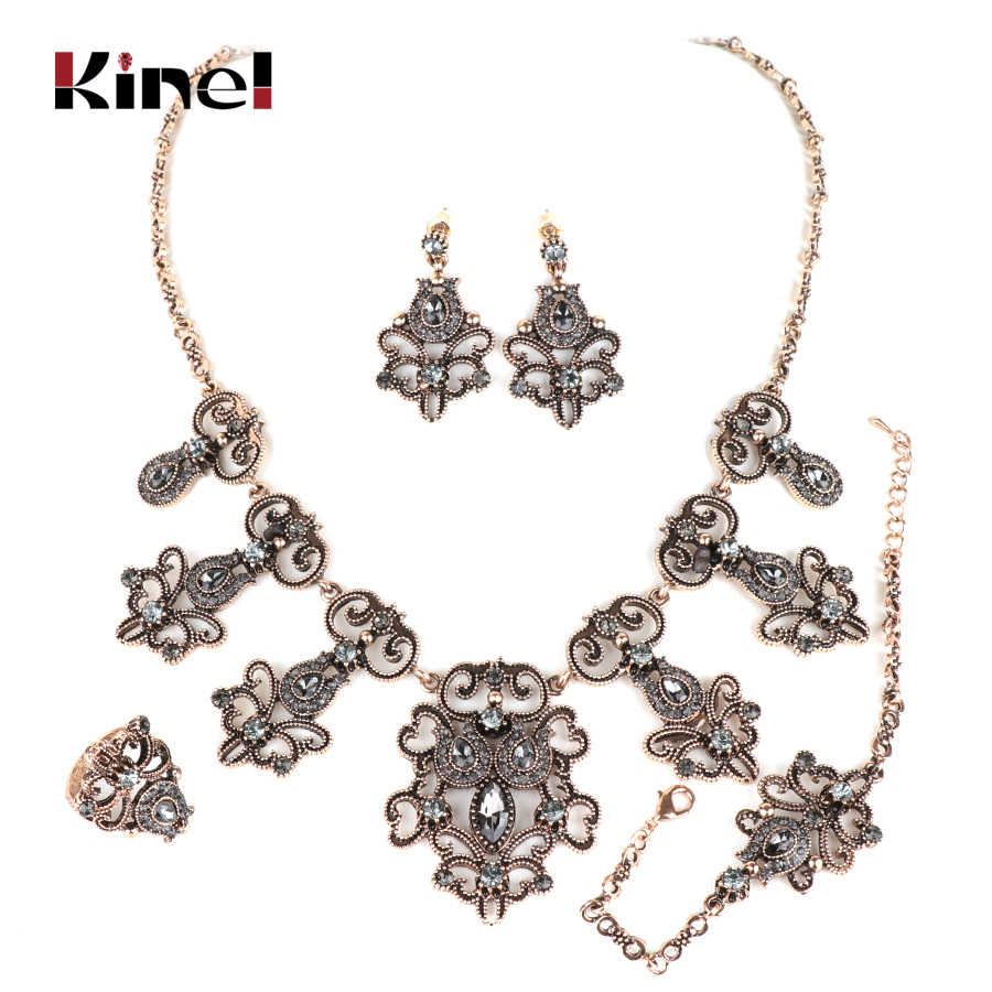 Kinel 4Pcs India Bridal Wedding Jewelry Sets Antique Gold Turkey Gray Crystal Flower Earring Necklace Bracelet Ring For Women