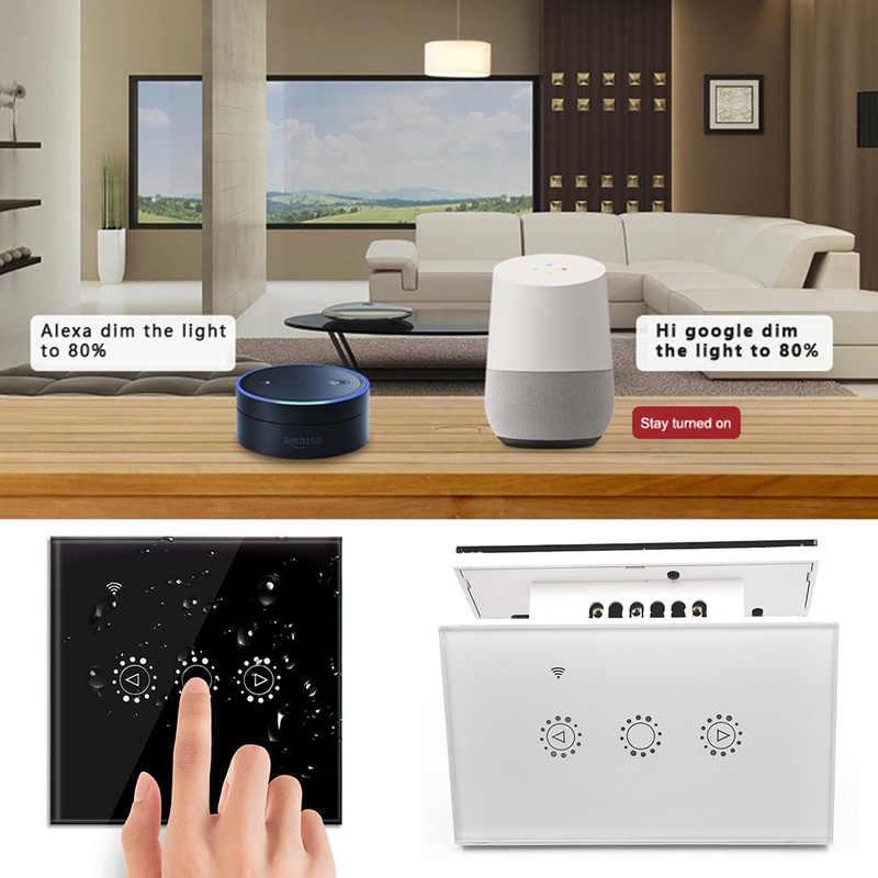 LED Dimmer 220 V Smart WIFI Switch Kontrol Sentuh Stepless Dimmer dengan Bohlam Kompatibel dengan Amazon Alexa Asisten Google Ewelink