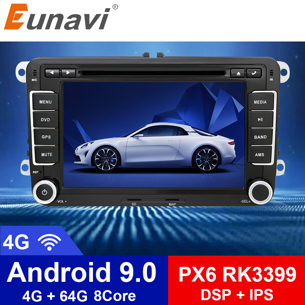 Eunavi 2 Din Android 9.0 Car Audio DVD Player Radio For VW GOLF 6 Polo Bora JETTA <font><b>B6</b></font> <font><b>PASSAT</b></font> Tiguan SKODA OCTAVIA GPS Navigation image