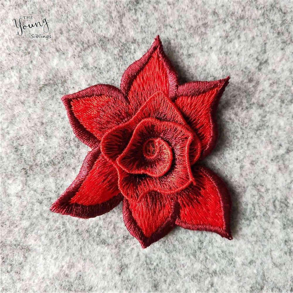 Hermoso collar de flores rojas costura bordado encaje tela apliques cuello líneas de corte ropa DIY decorar manualidades suministros