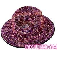 Sombrero fedora de diamantes de imitación unisex, sombrero para fiesta, club, jazz, iglesia, unisex, venta al por mayor