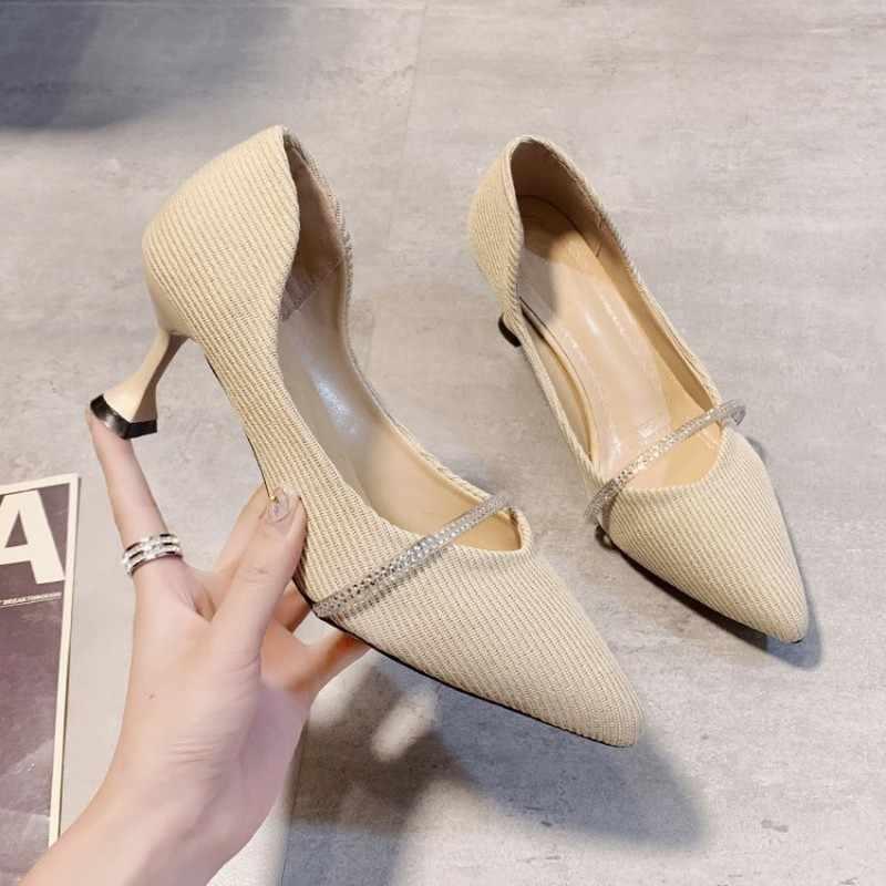 Moda feminina baile de formatura de salto alto personalidade feminina elegante stiletto senhoras bombas de escritório feminino tecido elástico sapatos casuais J14-19