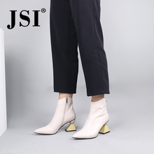 цены JSI Brand ankle boots woman genuine leather pointed toe solid zipper design boots woman elegant strange heel ankele boots JC722