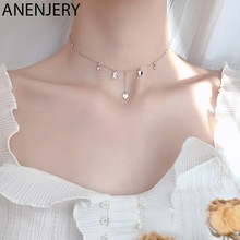 ANENJERY-collar de corazón con borla para mujer, gargantilla de Plata de Ley 925, joyería de boda, S-N474