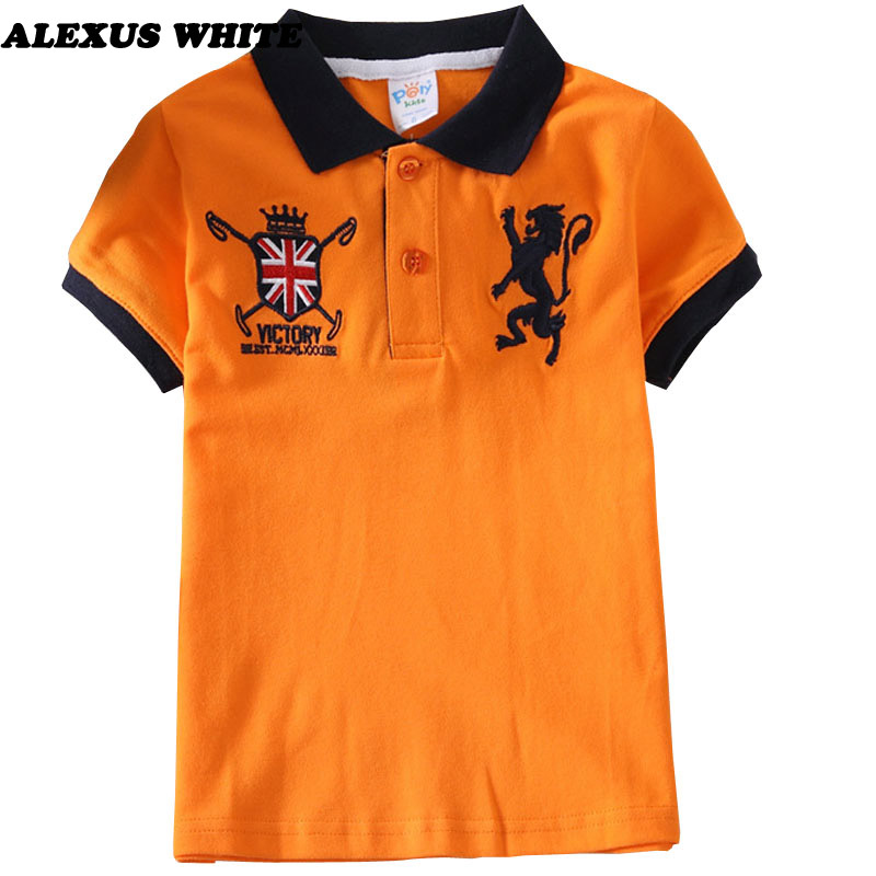 Summer Child Clothing Cotton Kids Boys Collar Polo Shirt Short Sleeve Tops Baby Boy Sprots Shirts Lapel Fabric Tee Clothes 2-6 Y