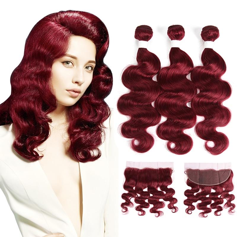 99J/Burgundy Human Hair Bundles With Frontal X-TRESS Brazilian Non Remy Body Wave Bundle Weaves Lace