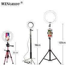 LED Selfie Ring Light 16cm 26cm 5600K Studio Photography Fill Ring Lamp Photographic Lighting With Tripod Phone Holder USB Plug