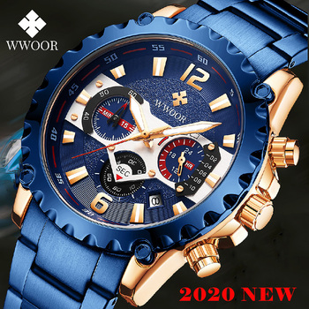 WWOOR Blue Full Steel Watches Mens 2020 Top Brand Luminous Waterproof Sport Chronograph Watch For Man Quartz Military Wristwatch boyzhe man s automatic mechanical watch fashion brand business watch military sport waterproof clock luminous wristwatch for man
