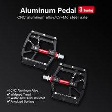 Ultraleve pedais da bicicleta liga de alumínio pedal plana 3 rolamentos mtb pedais para mountain road bicicleta acessórios pedales