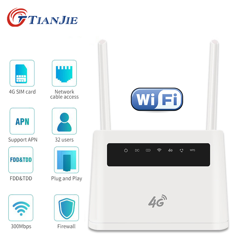 TIANJIE 4G WiFi Router battery CPE external dual antenna 4G wireless modem hotspot WAN LAN port PPTP L2TP static routing QoS image
