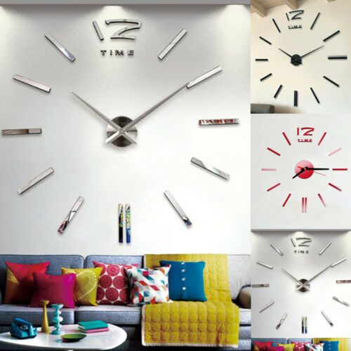 Modern DIY Analog 3D Mirror Surface Large Number Wall Clock Sticker Home Decor