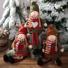 Xmas Christmas decorations Non-woven girl sitting posture hanging leg ornaments Creative doll decoration all for the new year