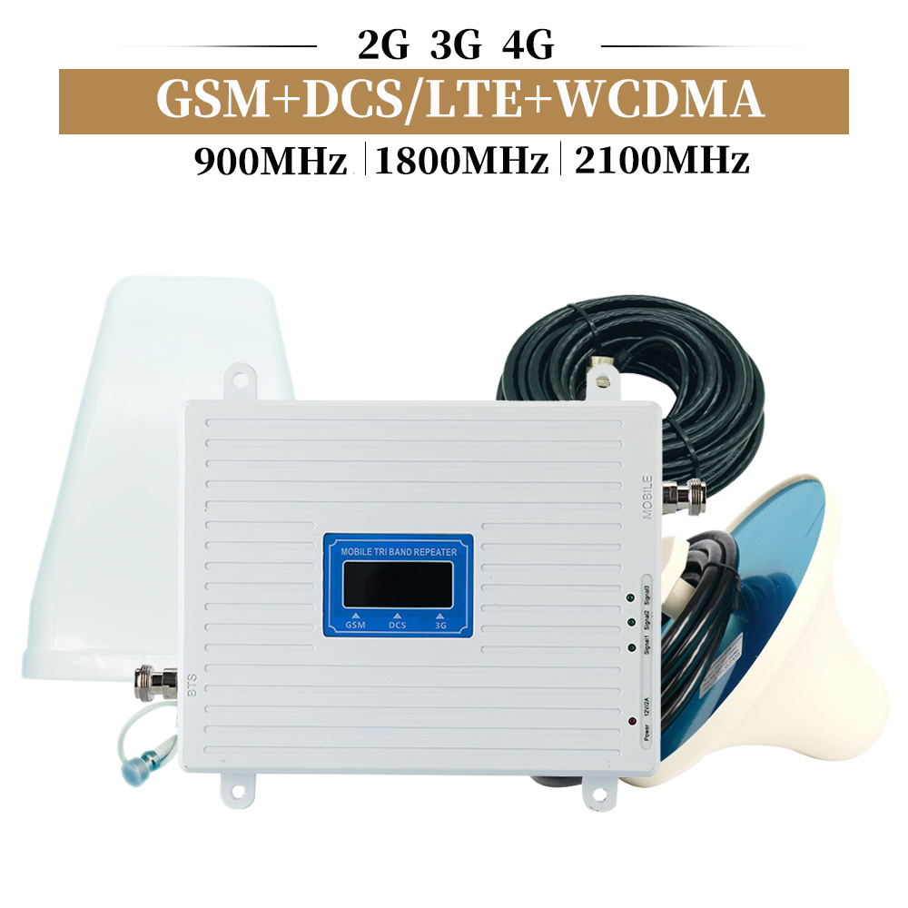 Mobile Amplifier Tri Band Repeater 900 1800 2100 GSM Repeater DCS WCDMA 2G 3G 4G Repeater LTE Cellular Signal Booster Set
