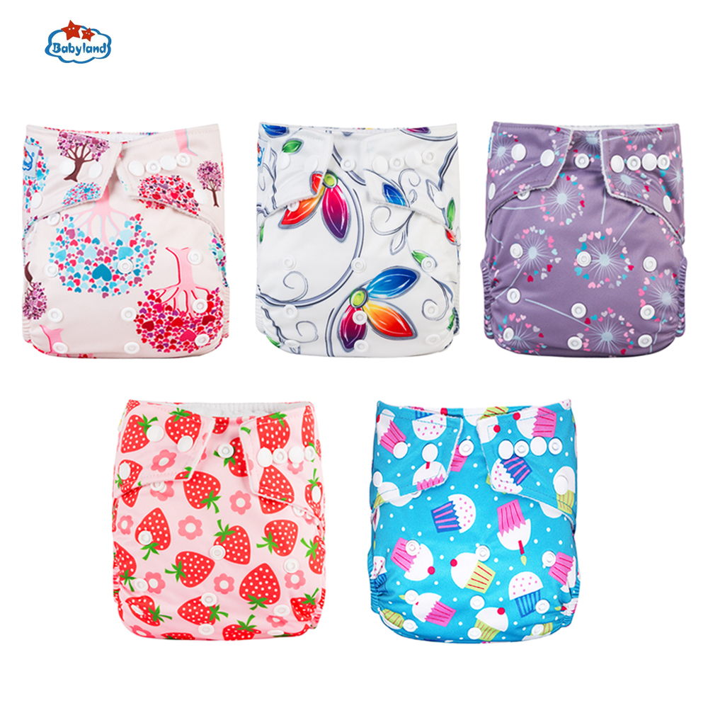 Fralda Ecologica Babyland Baby Nappy 5pcs/Lot Washable Diapers Good Quality Pocket Diaper For 0-2 Years 3-15KG Baby Eco-Friendly