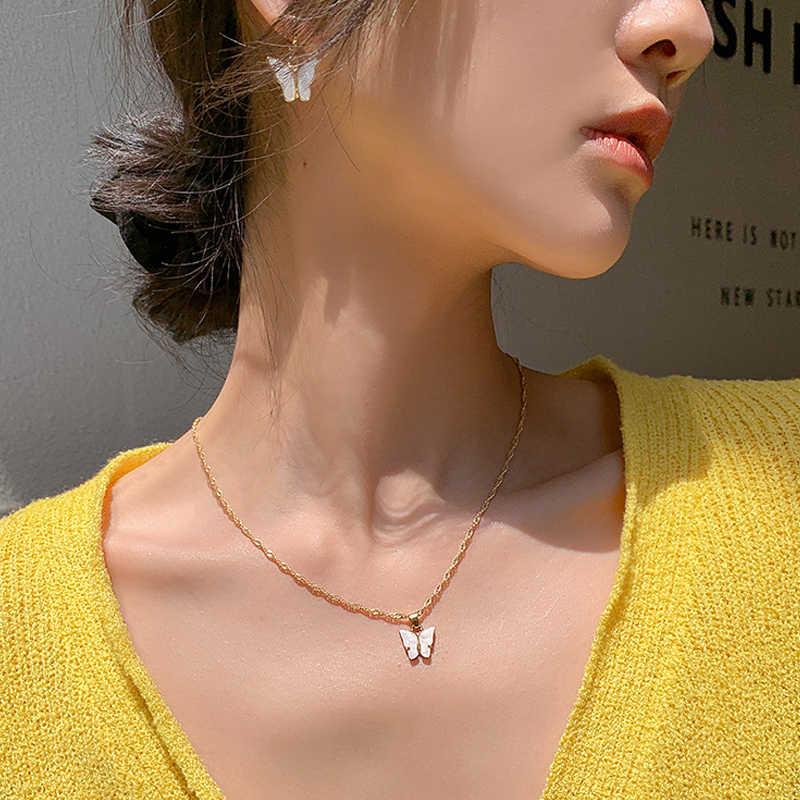 Motyl naszyjnik śliczny wisiorek z motylem naszyjnik dla kobiet imprezowa, koktajlowa oświadczenie naszyjnik słodki styl koreański