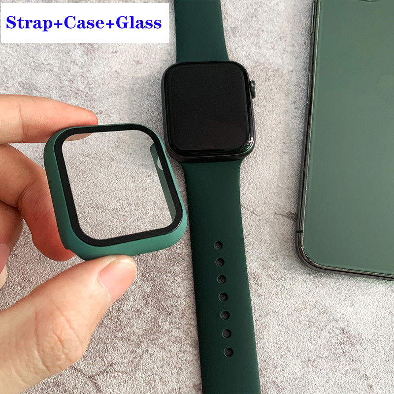 Case+strap For Apple Watch Band 44 Mm IWatch Band 38mm 42mm 40mm Silicone Bumper Bracelet Series 5 4 3 2 Apple Watch Accessories