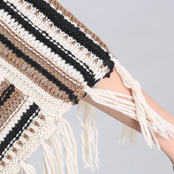 Autumn and winter new Women Loose tassel Poncho cloak shawl V-neck oblique striped pullover Knitted pullover female 10