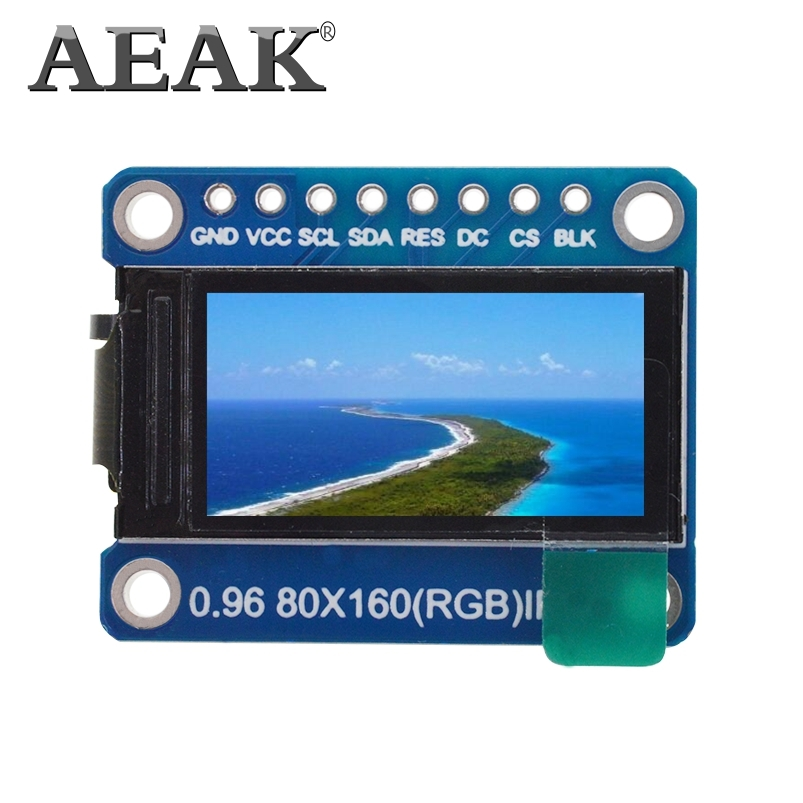 AEAK TFT Display 0.96 Inch IPS 7P SPI HD 65K Full Color LCD Module ST7735 Drive IC 80*160 (Not OLED)
