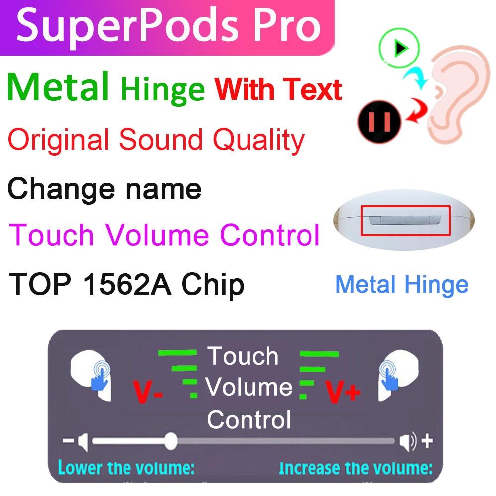 Superpods pro fone de ouvido bluetooth sem fio metal dobradiça 99.9% air2 com texto 10d super bass fones melhor microfone pk i99999 plus