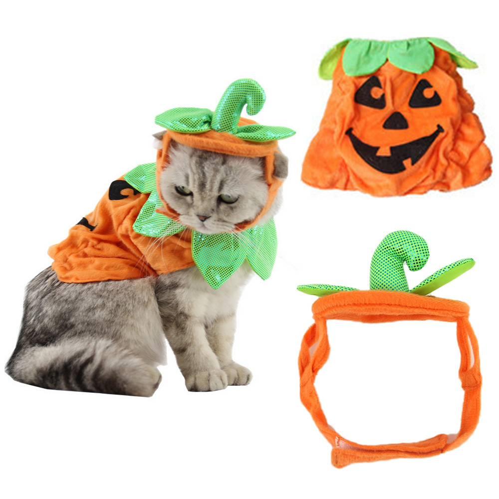 Cute Pets Pumpkin Shape Clothes Halloween Party Pet Costume Cosplay Suits Dog Cat Hat Dress Up Products