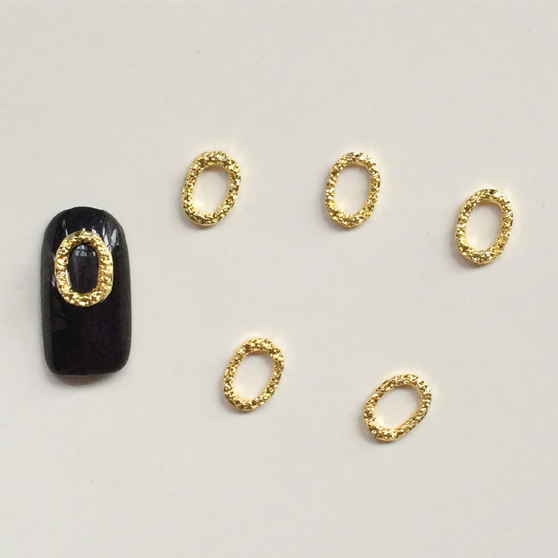 Metal Ornament Japanese Korean Of Gold Ellipse Linen Wreath Phototherapy Nail Ornament Nail Sticker Wholesale 100 A