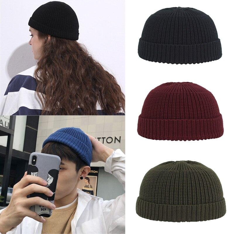 Winter Hat Beanies Docker Cap Street Men Brimless Hat Hip Hop Knitted Hats Women Cuffed Short Solid Pumpkin Portable Melon Caps