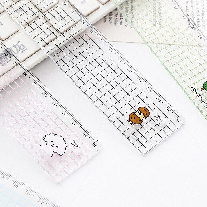 Regla de Rejilla transparente Animal de Color Radom, suministros de dibujo de papelería de aprendizaje, artículos de oficina escolares para estudiantes, 15cm, 1 Uds.