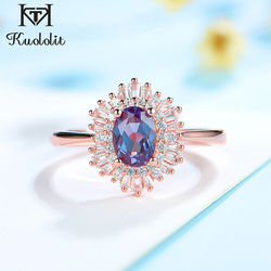 kuololit 585 Lab Alexandrite Gemstone Ring for Women Genuine 925 Sterling silver Ring for Wedding Wedding Promise gifts New 2020