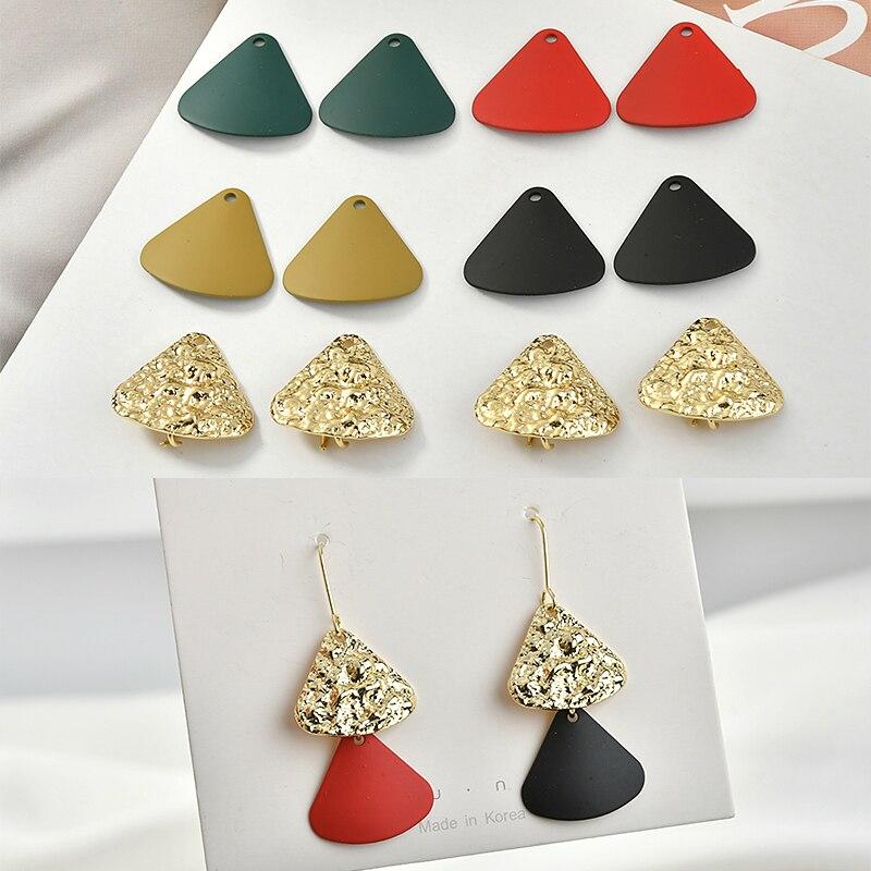 Advanced Feeling Fan-shaped Contrast Asymmetric Earrings Diy Retro Rubber Paint Texture Ear Jewelry Material Accessories