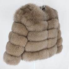 OFTBUY 2020 겨울 자켓 여성 진짜 모피 코트 자연 큰 털이 여우 모피 겉옷 Streetwear 두꺼운 따뜻한 3 분기 소매